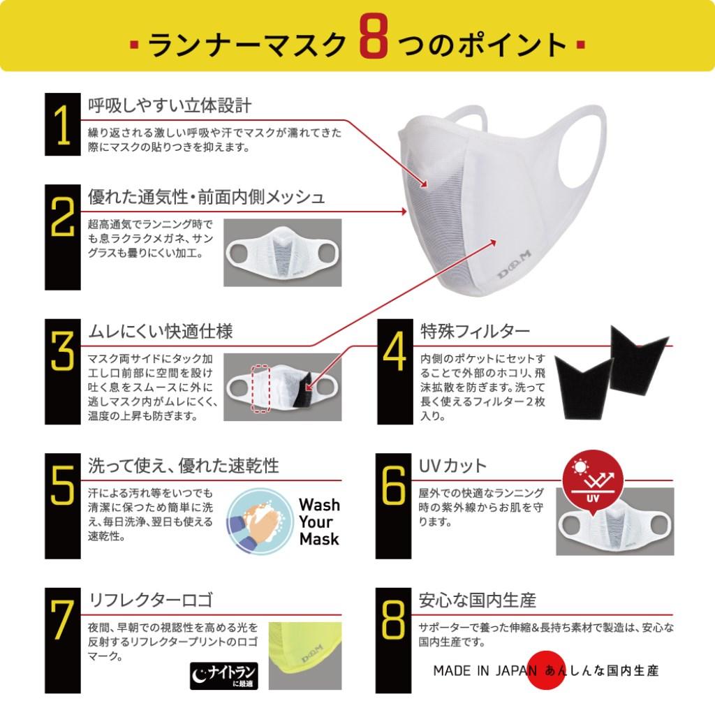 D&M ランナーマスク ホワイト M 大人用小さめ#109455