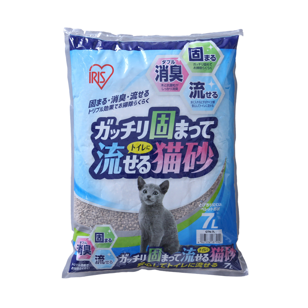 アイリスオーヤマ ガッチリ固まってトイレに流せる猫砂×4個